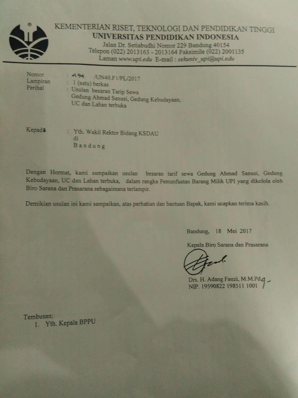 Lampiran 1. Surat usulan besaran tarif sewa Gedung Achmad Sanusi, Gd. Kebudayaan, UC, dan lahan terbuka